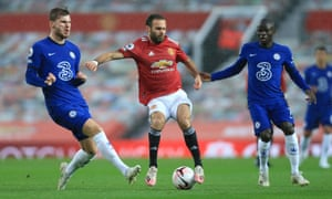 Juan Mata keeps hold of possession during Manchester United's 0-0 draw with Chelsea at Old Trafford.