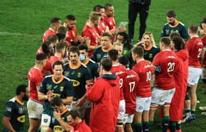 Lions applaud the South Africa A team from the pitch.