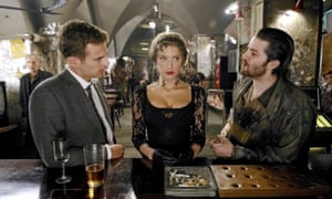 Amber Heard as Nicola Six, with Theo James (left) as Guy Clinch and Jim Sturgess as Keith Talent in Mathew Cullen's film of London Fields (2018).
