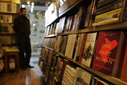 A copy of Murugan's novel One Part Woman stands on display at The Bookshop in New Delhi, India.
