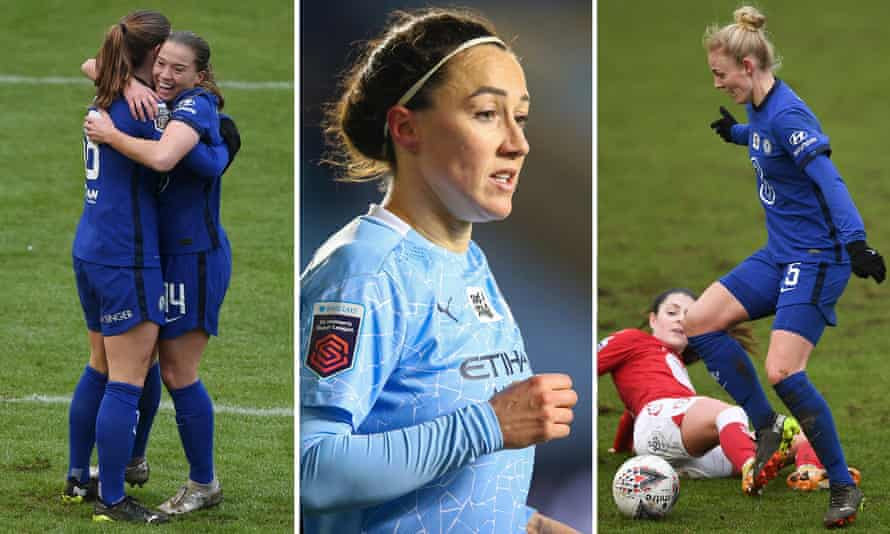 From left: Chelsea's Fran Kirby, Lucy Bronze of Manchester City and Sophie Ingle of Wales.