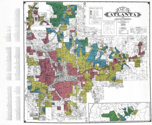A map from the 1930s showing redlining in Atlanta.