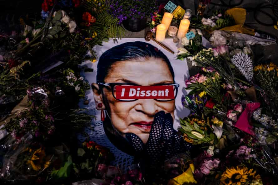 A makeshift memorial for Supreme Court Justice Ruth Bader Ginsburg in front of the US Supreme Court on September 19, 2020 in Washington, DC.