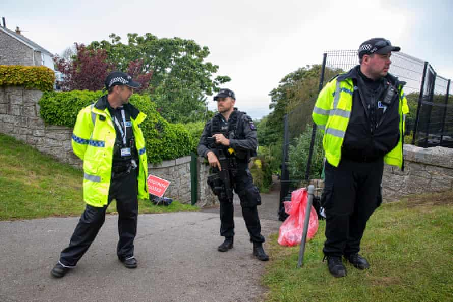 Armed police at Carbis Bay.