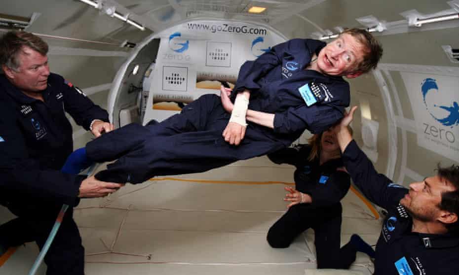 'Cosmic horizons': Stephen Hawking experiences zero gravity during a 2007 flight over the Atlantic.