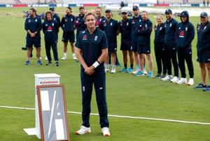 Stuart Broad during a presentation to honour his five-hundredth wicket.