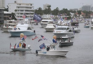 Boaters show their support for US president Donald Trump during a parade down the Intracoastal Waterway on Saturday in Fort Lauderdale, Florida.