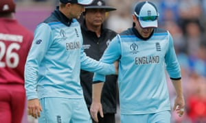 Eoin Morgan (right) said: 'I have had back spasms before – we think it's that' after he pulled up while fielding.