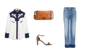 Shirt, £79, stories.com Bag, £262.50, coach.com  Jeans, £251, Mother mytheresa.com  Shoes, £130, whistles.com