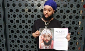 Kaur with her image in Rock n Roll Bride magazine