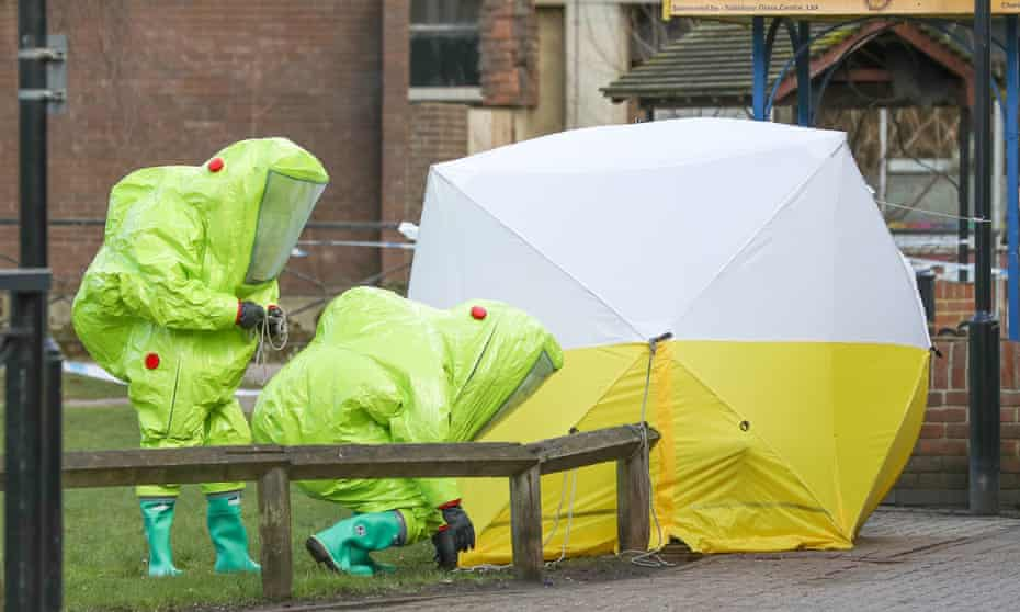 Personnel in hazmat suits secure an area in Salisbury in March 2018
