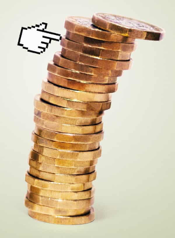 An illustration of a stack of pound coins with a digital hand pointing to the top of it as it tips over