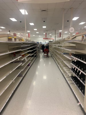 Empty shelves are seen at a store in Austin.