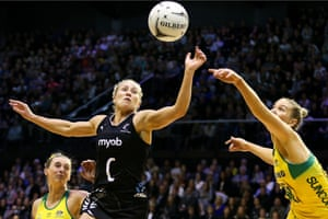 New Zealand's Laura Langman competes for the ball with Courtney Bruce of Australia.
