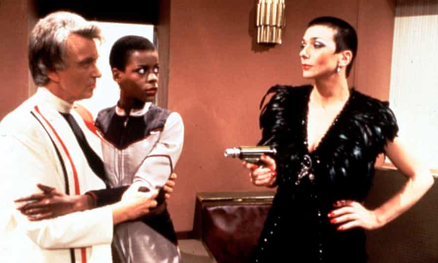 Jacqueline Pearce, right, as Servalan, supreme commander of the Federation, confronts Dayna (Josette Simon) and Justin (Peter Byrne) in a 1981 episode of Blake's 7.