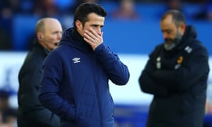 Marco Silva endured a harrowing day on the touchline watching his Everton side lose 3-1 at home to Wolves.