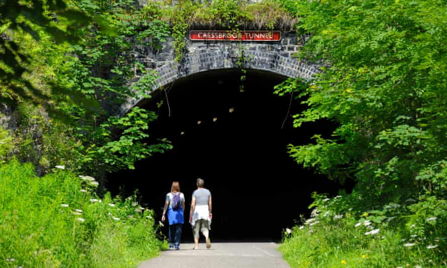 The entrance to the Cressbrook tunnel on the Monsal Trail in Derbyshire.