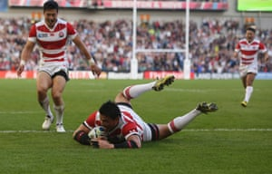 However, Japan then conjured the move of the game, a sweet inside ball to the onrushing wing Akihito Yamada creating space for the unstoppable Goromaru to score a try for the ages