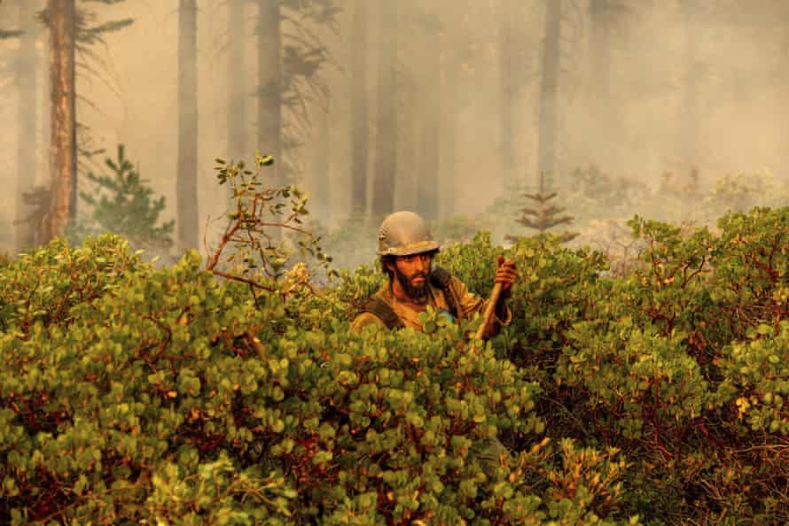 Cody Carter battles the North Complex fire in Plumas national forest, California.