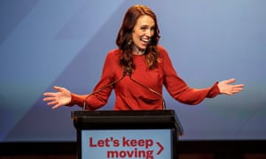 Jacinda Ardern addresses a Labour party function on election night