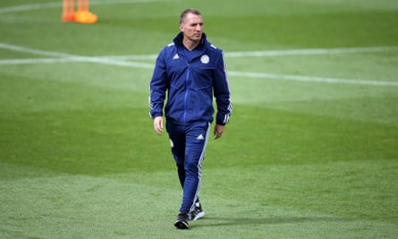 Brendan Rodgers during a Leicester City training session before their final Premier League game of the season at home against Manchester United.