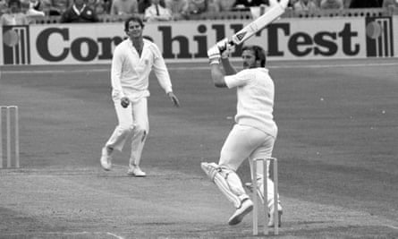Ian Botham hits Terry Alderman for four during his innings of 118 in the fifth Test at Old Trafford