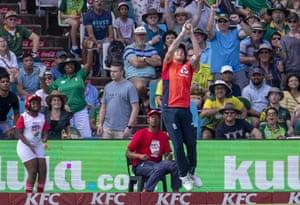 Stokes jumps to take the catch to dismiss Phehlukwayo.