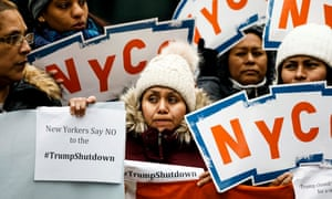 Protesters rally against the shutdown in New York on Monday.