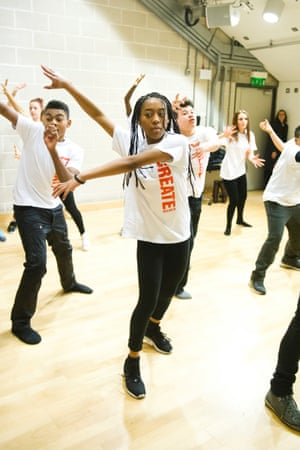 Young members of the Create company rehearsing in the Kahn Studio, Sadler's Wells