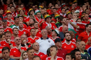 A solitary England fan amongst Welsh fans during the England v Wales Euro 2016 Group B match at the Stade Felix Bollaert, Lens, France in June 2016,