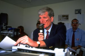 Bob Willis in July 1997 commentating on the third test match between England and Australia for BBC Radio, at Old Trafford Cricket Ground.