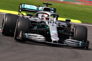 Lewis Hamilton driving the Mercedes AMG Petronas W10.
