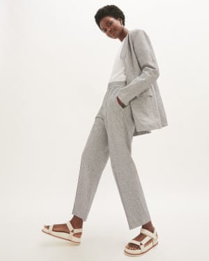 Linen check blazer, £180, trousers, £98, T-shirt, £35, and sandals, £110, jigsaw-online.com