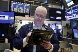 Trader Thomas Ferrigno works on the floor of the New York Stock Exchange today.