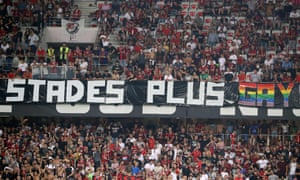 Fans display a homophobic banner at the Ligue 1 match between Nice and Marseille