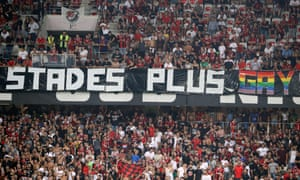 Nice's supporters brandish a homophobic banner during their Ligue 1 match against Marseille last month
