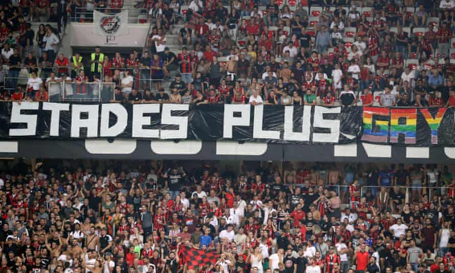 A homophobic banner unfurled at a football match between OGC Nice and Olympique de Marseille in August last year