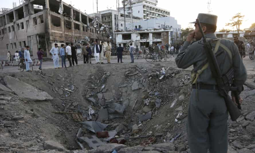 A crater left by the Taliban attack in Kabul on 31 May.