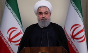Hassan Rouhani, the Iranian president, holds a press conference about Donald Trump pulling the US from the nuclear deal.