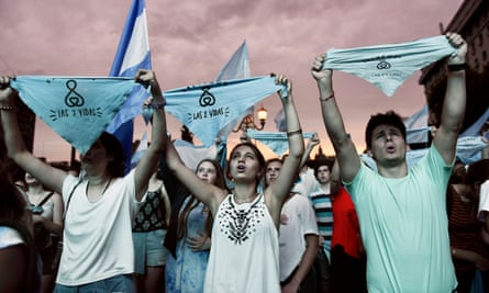 Anti-abortion protesters in Buenos Aires on Friday morning.