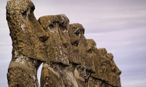 A file picture taken on July 13, 2010, shows stone statues of the Rapa Nui culture on Easter Island.