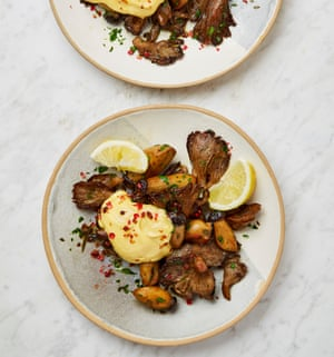 Yotam Ottolenghi's confit oyster mushrooms with lemon aïoli.