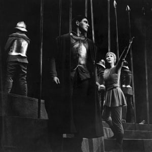 Christopher Plummer and Julie Harris on-set of the Broadway Play The Lark at the Longacre Theatre, New York, 1955