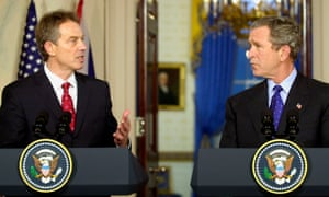Tony Blair at a press conference with George W Bush at the White House in 2003.