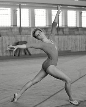 Věra Čáslavská in gym practice, Czechoslovakia, 1964.