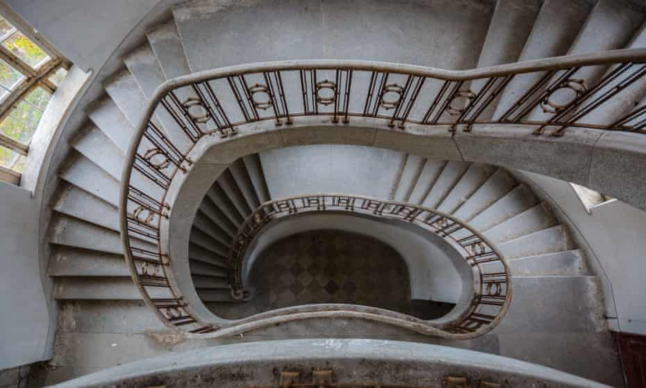 """A stairway in the """"Haus der Offiziere"""" main building. Wünsdorf Germany"""