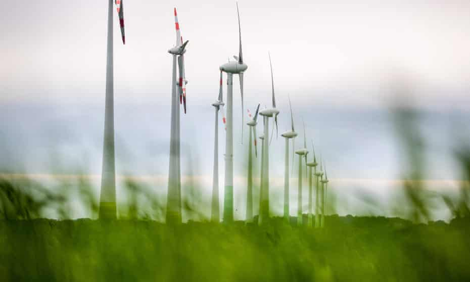 Wind turbines on the outskirts of the village of Klein Buenzow, north-east Germany