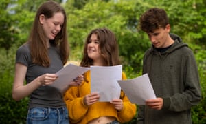 Esme Smith (left), Isabella Simpson and Nathan Rischer receiving their GCSE exam results on Thursday