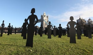 Silhouettes representing women murdered by current or former partners installed in London in 2009.