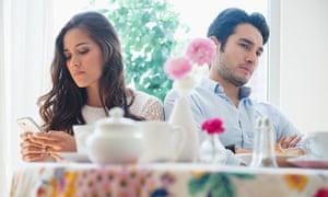 Couple arguing a restaurant